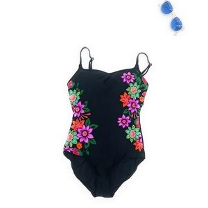 Anne Cole Floral Midnight One Piece Swimsuit New 8